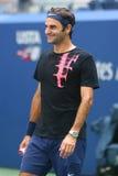 Diecinueve campeones Roger Federer del Grand Slam de las épocas de Suiza practican para el US Open 2017 imagen de archivo