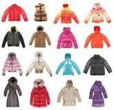 Dieciséis chaquetas del invierno Fotografía de archivo