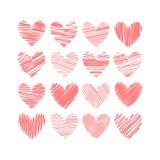 Dieciséis corazones aislados en el fondo blanco Fotografía de archivo libre de regalías