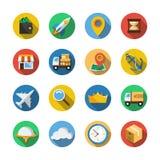 Dieciséis diversos iconos en un estilo plano Foto de archivo