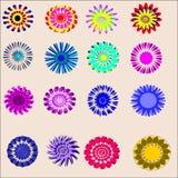 Dieciséis flores pintadas objetos con muchos pétalos Foto de archivo libre de regalías