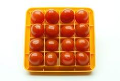 Dieciséis tomates de cereza rojos en un cuadrado Fotografía de archivo libre de regalías