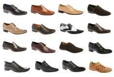 Dieciséis zapatos del hombre Foto de archivo libre de regalías