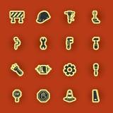 Dieciséis homebuilding e iconos de renovación Imagen de archivo