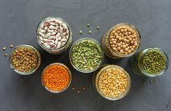Free Died Lentils And Pulses In Open Glass Kitchen Jars Stock Photo - 134433420