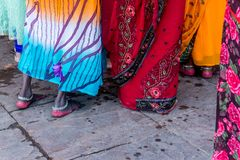Died Red Feet in Varanasi, India. Indian women die their feet for good luck Royalty Free Stock Image