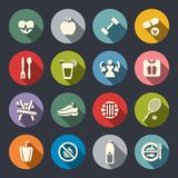 Dieet en geschiktheids geplaatste themapictogrammen. Vlak Royalty-vrije Stock Afbeelding
