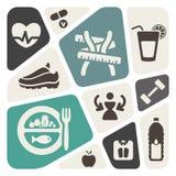 Dieet en geschiktheidsachtergrond met pictogrammen Stock Foto's