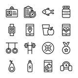 Dieetplan, Sportensupplement, de Inzameling van Voedingspictogrammen stock illustratie