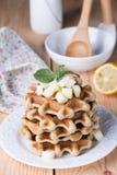 Dieetrijst Belgische wafels Stock Afbeelding