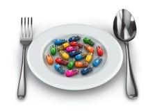 Dieetsupplementen. Verscheidenheidspillen. Vitaminecapsules op plaat. royalty-vrije illustratie