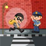 Dief en politiebeeldverhaal vector illustratie