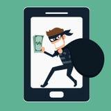dief Hakker stealing geld op slimme telefoon Royalty-vrije Stock Fotografie