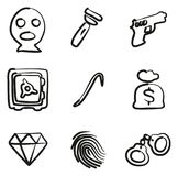 Dief Icons Freehand stock illustratie