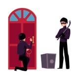 Dief, inbreker die binnenshuis het gaan breken open brandkast dwingen stock illustratie
