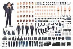 Dief, inbreker of misdadige verwezenlijkingsreeks of DIY-uitrusting Bundel van de vlakke mannelijke lichaamsdelen van het beeldve stock illustratie