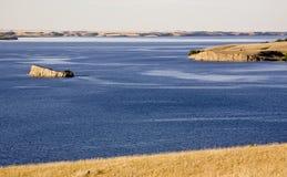 Diefenbaker Lake Saskatchewan. Deep blue river Canada Royalty Free Stock Photos