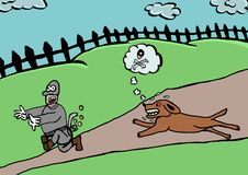 Dieflooppas vanaf hevige hond Royalty-vrije Stock Foto