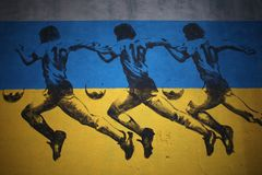 Diego Armando Maradona wall graffiti stock photos