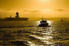 Diego-Boote am Sonnenuntergang Stockbild