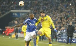 Diego Costa and Felipe Santana FC Schalke v FC Chelsea 8eme Final Champion League Royalty Free Stock Image