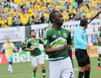 Diego Ferney Chará Zamor. Midfielder for the Portland Timbers at Providence Park 3-6-16 stock image