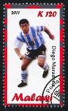 Diego Maradona. Malawi - CIRCA 2011: stamp printed by Malawi, shows Diego Maradona, circa 2011 stock images