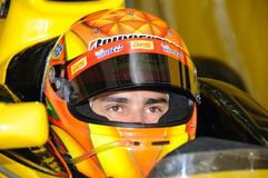 Diego Nunes. DUBAI, UAE - APRIL 11-12 2008: GP2 Asia driver Diego Nunes, preparing for in action, at Dubai Autodrome. In the first session Diego finished 20th Royalty Free Stock Image