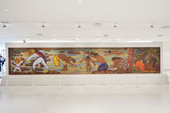 Diego Rivera Mosaic within the Interior of Soumaya museum Museo Soumaya. MEXICO CITY - NOV 1, 2016: Interior of Soumaya museum Museo Soumaya. Soumayo Museum has Royalty Free Stock Photos