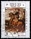 Diego Velazquez, International Stamp Exhibition ESPANA `84, Madrid serie, circa 1984. MOSCOW, RUSSIA - FEBRUARY 22, 2019: A stamp printed in Laos shows Diego stock photos