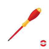 Dielectric screwdriver. Red yellow screwdriver. icon  vector illustration Stock Image