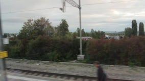 Dielsdorf-Station vom Zug-Fenster stock footage