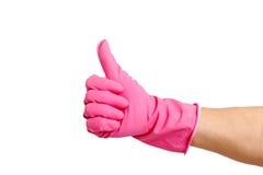 Dien handschoen in. Stock Foto's