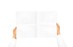 Dien witte overhemdskoker in houdend leeg dagboek royalty-vrije stock afbeelding