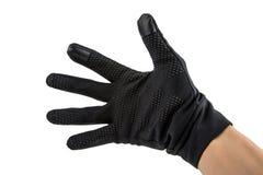 Dien zwarte handschoenen in stock foto