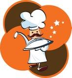 Dienblad-behandelde de holding van de chef-kok Royalty-vrije Stock Afbeeldingen