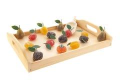 Dienblad met fruitsuikergoed Stock Foto
