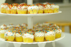 Dienblad o cupcakes Stock Foto's