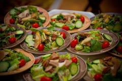 Dienblad van de Salades van het Diner Stock Foto