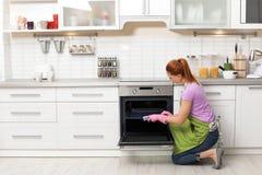 Dienblad van de vrouwen het schoonmakende oven met vod stock afbeeldingen