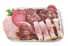 Dienblad van gekookt vlees stock afbeeldingen