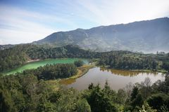 Dieng. Telaga warna lake, Ygyakarta, Indonesia Stock Photos