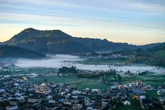 Dieng. Village in the morning, , Indonesia Stock Photo