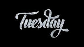 Dienstag-Blinkentext wünscht Partikel-Grüße, Einladung, Feier-Hintergrund