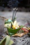 Dienstenaanbod aan goden: voedsel en aromastokken Royalty-vrije Stock Foto's