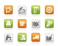 Dienstleistungen und Geschäftsikonen Lizenzfreie Stockfotos