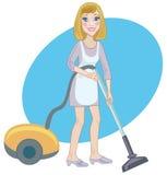 Dienstmeisje met een stofzuiger Stock Afbeelding