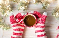 Dient de winterhandschoenen in houdend een kop van koffie Stock Fotografie