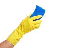 Dient gele handschoen met spons in Royalty-vrije Stock Foto's