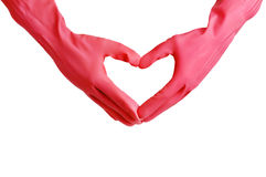 Dient rode handschoenen in Stock Afbeelding
